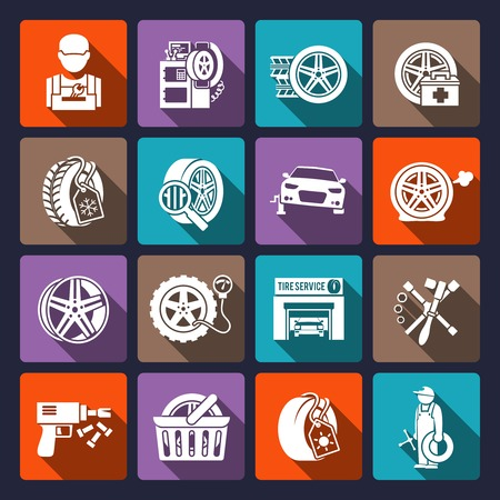 auto repair: Tire wheel service car auto maintenance repair icons white set isolated vector illustration