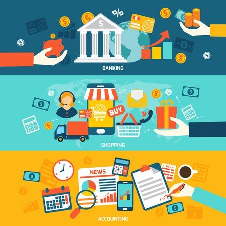 Contabilità striscioni piatto impostato con negozi e finanza elementi bancari isolati illustrazione vettoriale.