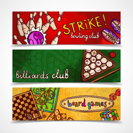 bowling strike: Sport and gambling games sketch colored horizontal banner set with bowling billiards and board isolated vector illustration