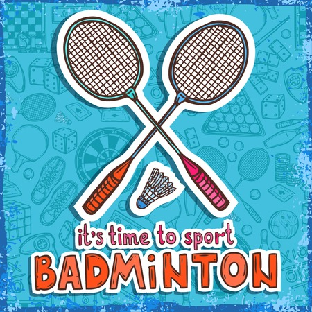 Raquet: Badminton raquet and shuttlecock sketch poster with sport and board games on background vector illustration
