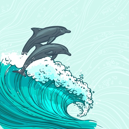 dolphin fish: Waves flowing water sketch sea ocean and two dolphins colored background vector illustration Illustration