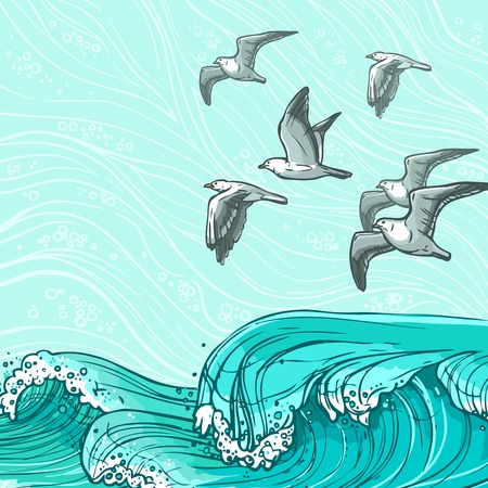 wet flies: Waves flowing water sketch sea ocean and flying seagull birds colored background vector illustration