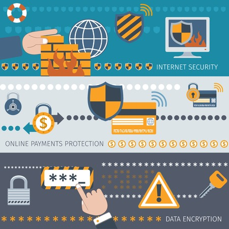 encryption: Security line banners set with internet online payment protection data encryption isolated vector illustration