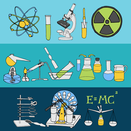 radioactive: Science chemistry and physics scientific laboratory equipment colored sketch banner set isolated vector illustration Illustration