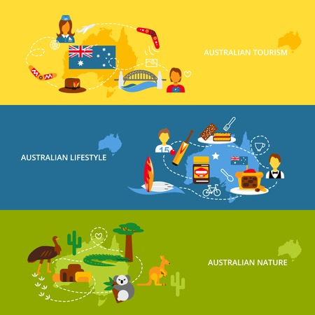 australia: Australia travel flat banner set with australian tourism lifestyle nature isolated vector illustration
