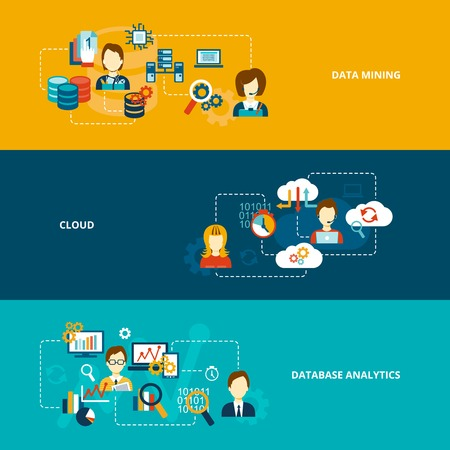 network server: Database analytics banner flat set with data mining cloud isolated vector illustration