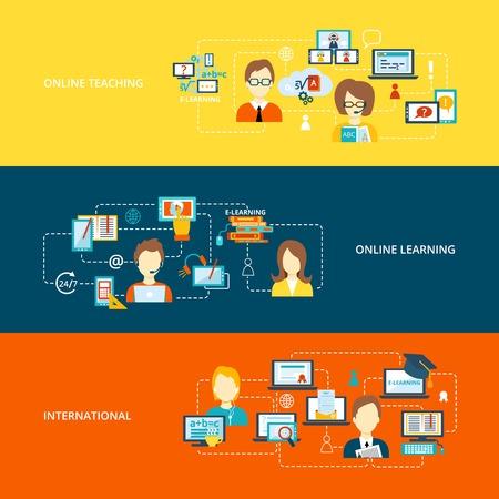 enseñanza: E-learning bandera plana fija con la enseñanza en línea internacional de aprendizaje aislado ilustración vectorial Vectores