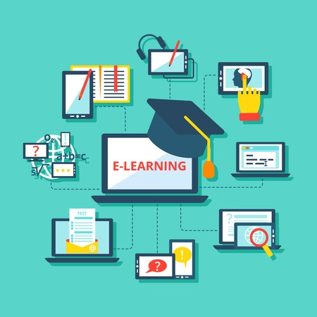 E-learning concept met mobiele apparaten platte decoratieve pictogrammen instellen vector illustratie