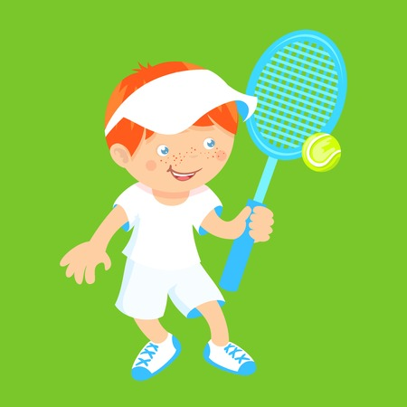 Boy kid with sport badminton racquet and shuttlecock isolated on green background vector illustration. Vector