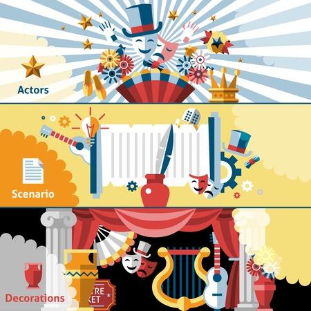 telon de teatro: Teatro bandera plana fija con decoraciones aislados escenario actores ilustraci�n vectorial.