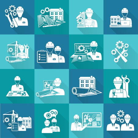 fixing: Engineer construction equipment technician workers with fixing tools and gears icons white set isolated vector illustration Illustration