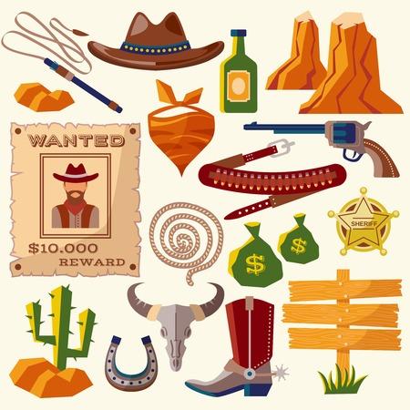calavera caricatura: Iconos planos vaquero salvaje oeste se establece con la bolsa de dinero aislado arma sombrero ilustraci�n vectorial