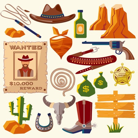 cartoon hat: Wild west cowboy flat icons set with gun money bag hat isolated vector illustration