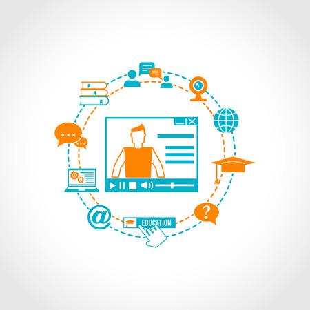 conocimiento: Concepto de educaci�n en l�nea con video tutorial y conocimientos digitales e-learning iconos ilustraci�n vectorial