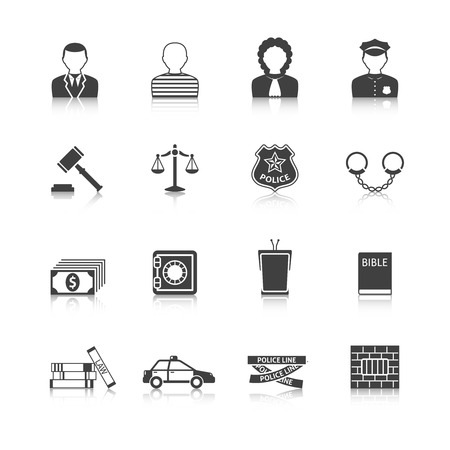 tribunal: Crime and punishment legal system  tribunal attorney investigation documents icons set  black abstract isolated vector illustration Illustration
