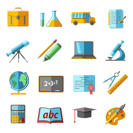 spotter: School college education flat pictograms collection with globe chemistry retort schoolbag graduation diploma abstract isolated vector illustration