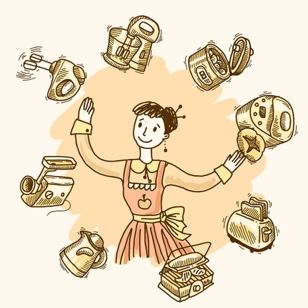 mincer: Woman with kitchen equipment and appliances hand drawn vector illustration