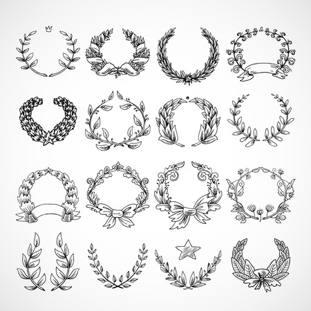 Laurel wreath heraldic decorative icons set sketch isolated vector illustration Vector
