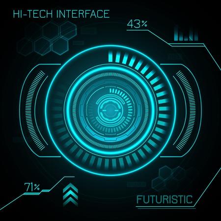 hologram: Hud hi-tech futuristic dashboard smart interface display background vector illustration