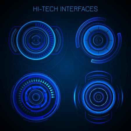 dashboard: Futuristic HUD interface hi-tech dashboard digital circular elements vector illustration Illustration