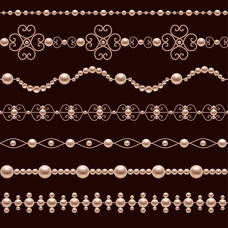 古典的な宝石パール アクセサリー装飾的な現実的なボーダー設定分離ベクトル図  イラスト・ベクター素材