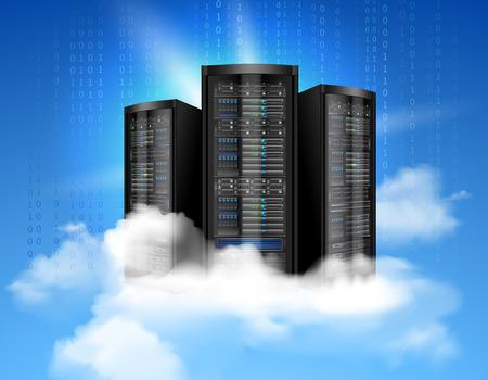 Netwerk dataserver met realistische wolken en binaire code achtergrond poster vector illustratie