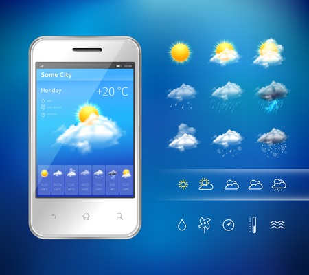 weather: Realistic mobile phone with weather forecast widget mobile application program layout template vector illustration