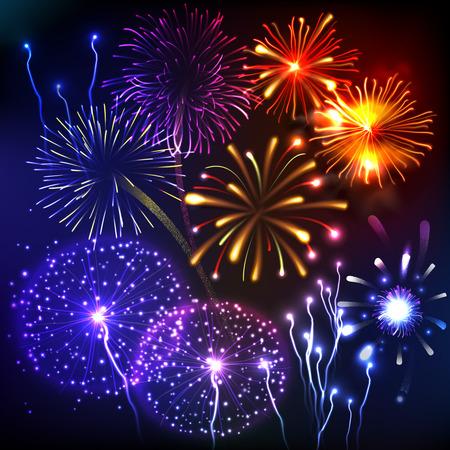Fireworks show new year celebration anniversary colorful salute decorative background vector illustration Vektorové ilustrace
