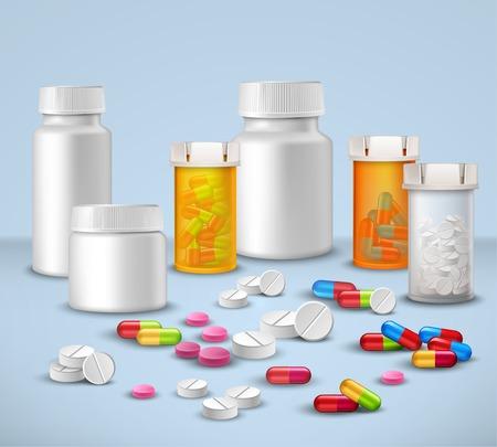 Pillen tabletten en medicijnen in plastic fles verpakkingen decoratieve pictogrammen instellen vector illustratie