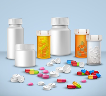Pills tablets and medicines in plastic bottle packages decorative icons set vector illustration