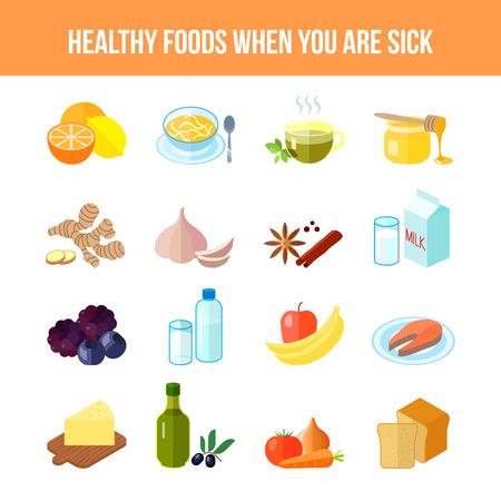 personas enfermas: Alimentos sanos para los enfermos icono plana fija con aislados miel t� sopa de lim�n ilustraci�n vectorial Vectores