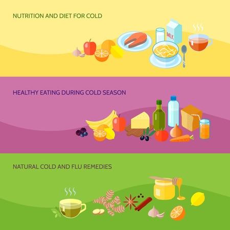 resfriado: La bandera del alimento saludable conjunto con la nutrici�n y la dieta para comer fr�o durante remedios naturales contra la gripe de temporada fr�a aislada ilustraci�n vectorial
