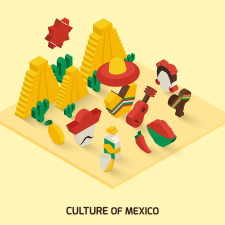 maraca: Mexican decorative icon isometric concept with pyramid guitar maraca vector illustration Illustration