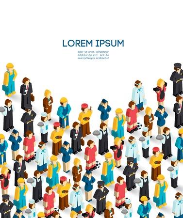 Professions poster with isometric avatars of engineer handyman waiter painter vector illustration Stock Illustratie