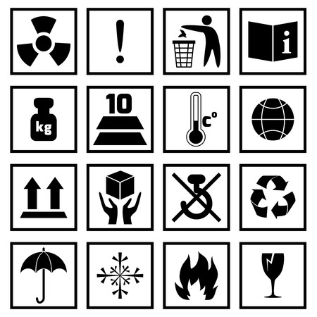 Packing symbols fragile handling and protection black icons set isolated vector illustration Vector