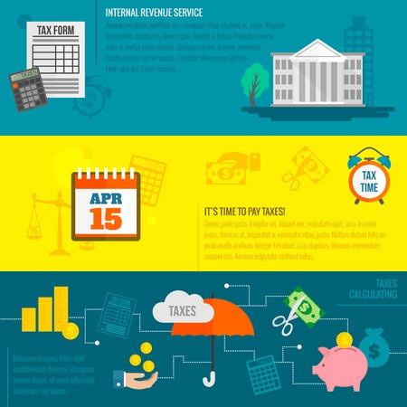 Fiscaal vlak banner die met Internal Revenue Service time berekening geïsoleerde vector illustratie.
