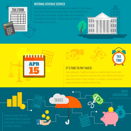 Tax flat banner set with internal revenue service time calculation isolated vector illustration.