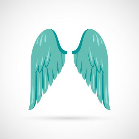 wings angel: Bird angel wing flat icon isolated on white background vector illustration Illustration