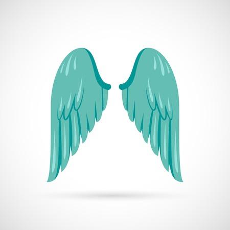 alas de angel: Icono plana del ala del �ngel del p�jaro aislado en el fondo blanco ilustraci�n vectorial