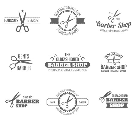 hair styles: Barber shop scissors and shaves professional haircut and beard cut label black set isolated vector illustration Illustration