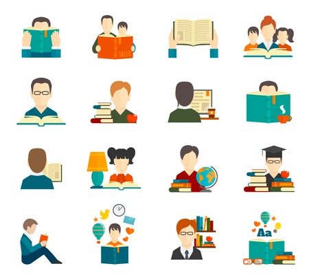 library book: People reading book encyclopedia textbook icon flat set isolated vector illustration