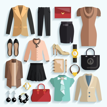 skirt suit: Businesswoman clothes decorative icons flat set with jacket panties purse isolated vector illustration