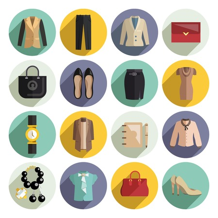 Business woman clothes icons set with purse jewellery cosmetics bag isolated vector illustration