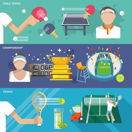 pingpong: Bandera de tenis de mesa de ping pong campeonato establece ilustración vectorial aislado