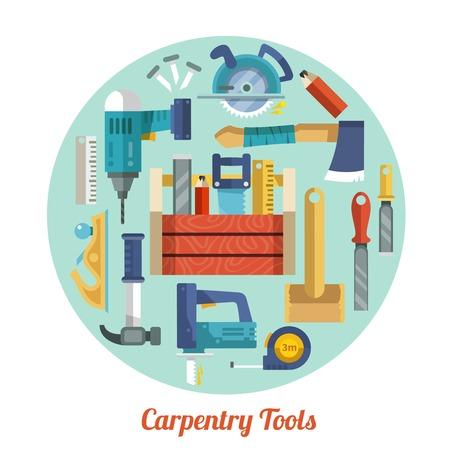 herramientas carpinteria: Equipo de Herramientas de la carpinter�a iconos decorativos planos situados en c�rculo ilustraci�n forma vectorial