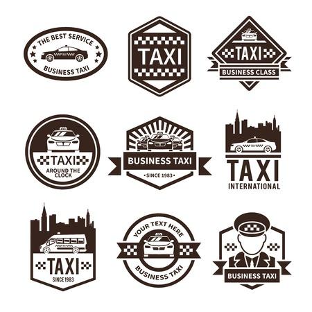auto service: Taxi international public auto car transportation service black label set vector illustration Illustration