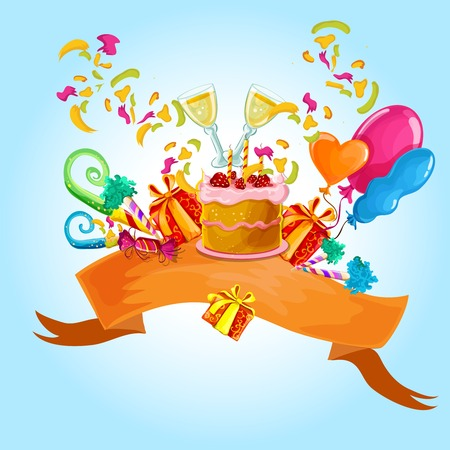champaign: Celebration colored background with champaign glasses birthday cake vector illustration
