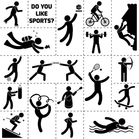 powerlifting: Sport icon black set with bike cycling diving rock climbing rowing isolated vector illustration