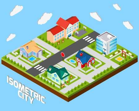 3d bungalow: Isometric city project with police office and private family houses 3d vector illustration
