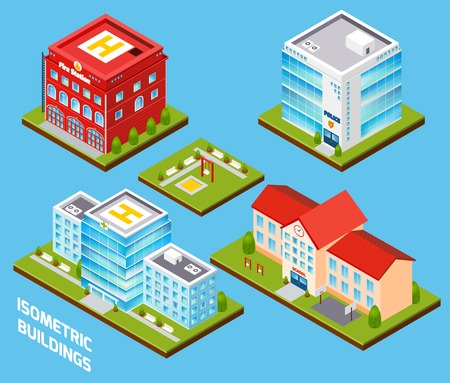 Government buildings 3d isometric set with fire station police hospital school isolated vector illustration Vector